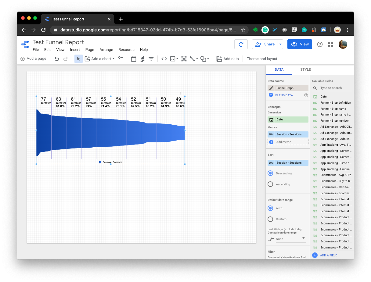 How to add funnel chart in Data Studio?